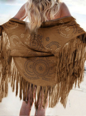 Fashion Tasseled Hollow Cape Scarf