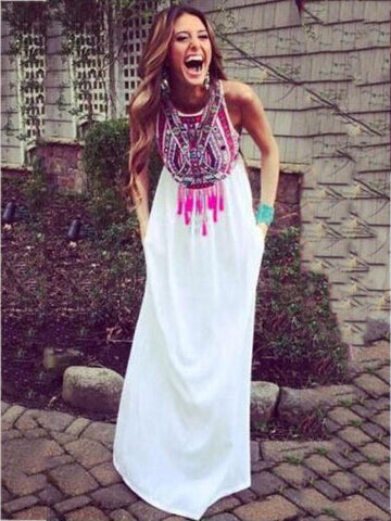 Backless Halter-neck Printed Bohemian Dress