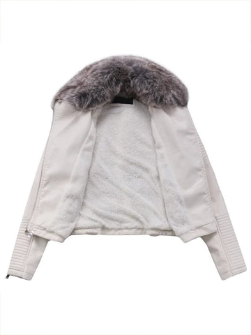 Winter Long Sleeve Fur Collar with Zipper Women's Jacket Tops
