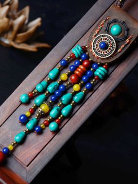 Vintage Handmade Leather Turquoise Necklaces Accessories