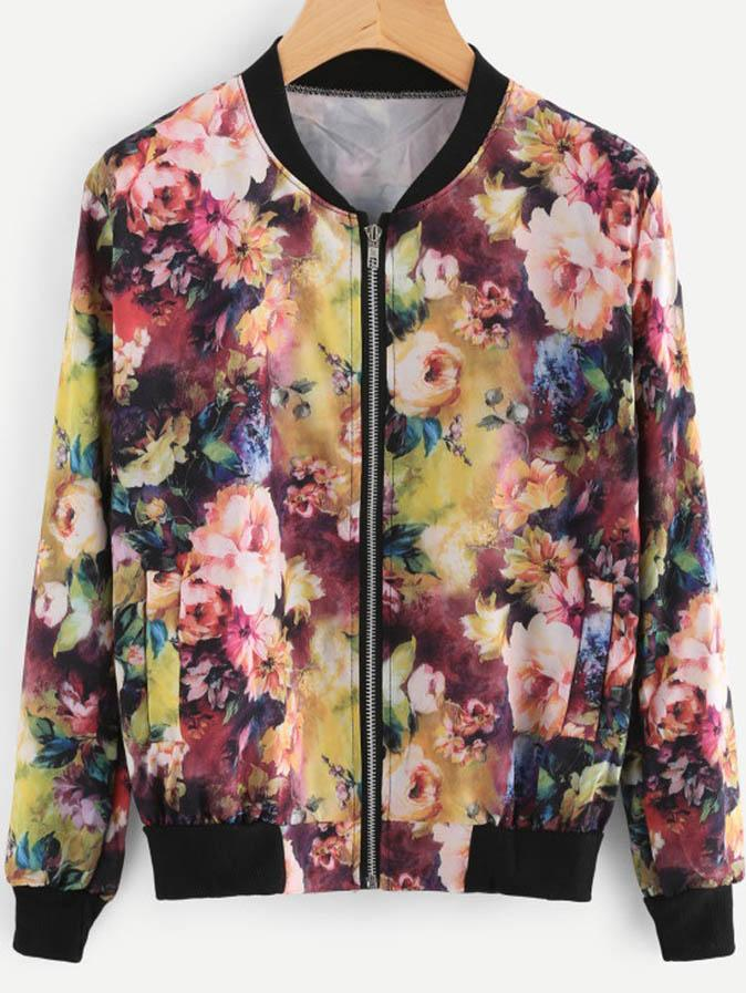 Floral Printed Zipper Bomber Jacket Tops