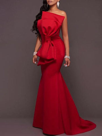 Red Strapless Bow-embellished Evening Dress