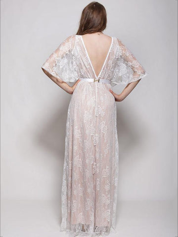 White Lace Hollow V-back Evening Dress