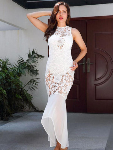 Lace Hollow Halterneck Mermaid Evening Dress