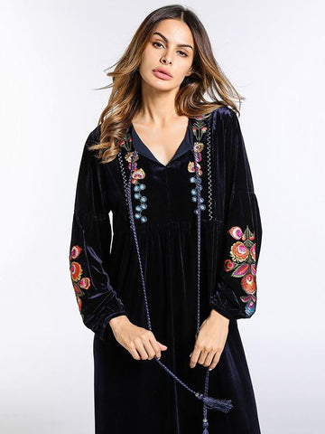 Pleuche Embroidered Raised Bands Kaftan Dress