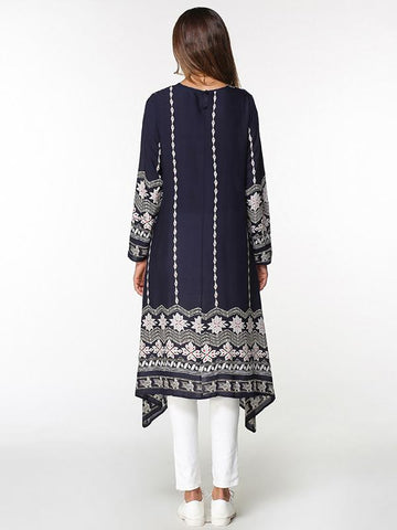 Asymmetric Printed Loose Midi Dress