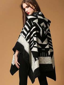 Fashion Asymmetric Button With Hat Cape Tops