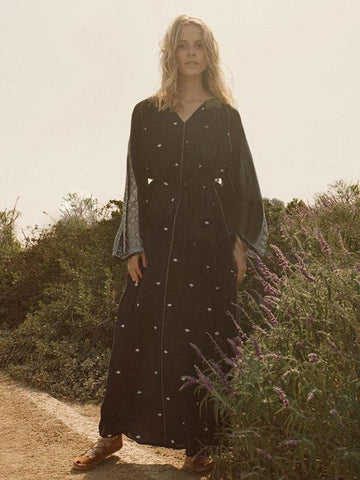 Bohemia Embroidered Loose Maxi Dress