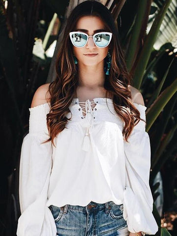 White Off-the-shoulder Straps Blouses&Shirts Top