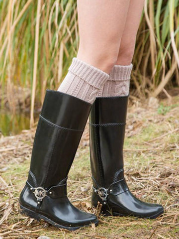 Knitting Over Knee-high Leg Warmer Thermal Stocking