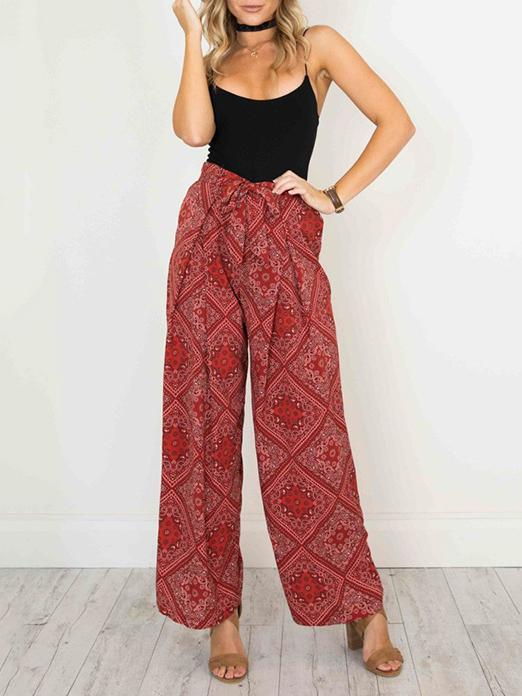 Plaid Printed Belted Casual Pants Bottoms