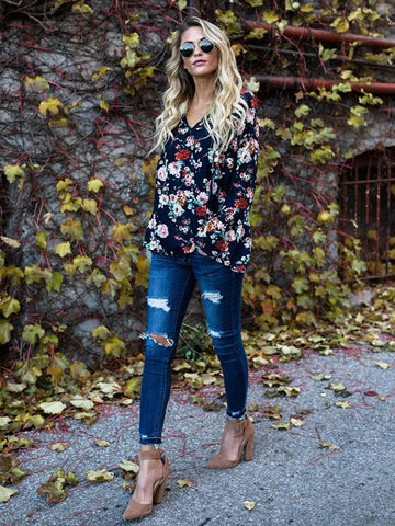 Floral Printed Flared Sleeves Blouses&Shirts Top
