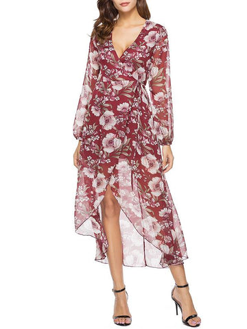 Asymmetric Printed Wrap Maxi Dress