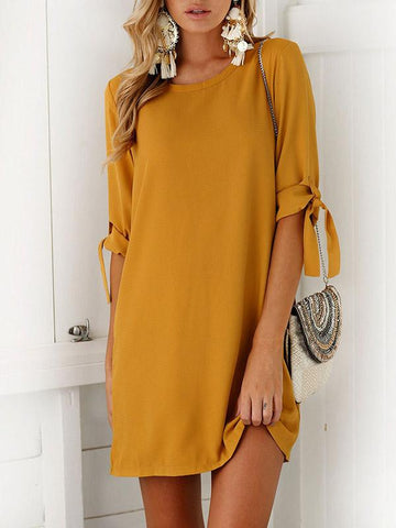 Solid Color Round Collar Mini Dress
