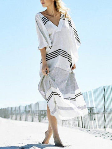Striped Loose Kaftans Cover-Up Tops