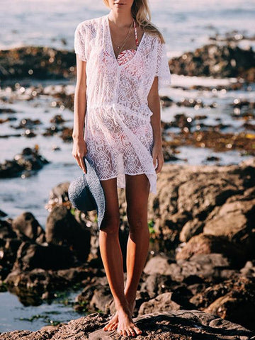 Lace Hollow Waisted Cover-Up Tops