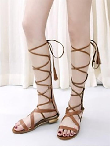 Bohemia Hight Barrel Hollow Slight Heel Suede Sandals