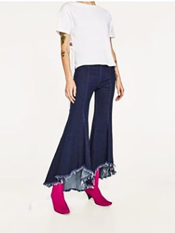 Fashion Tassels Bell-bottoms Jean Pants Bottoms