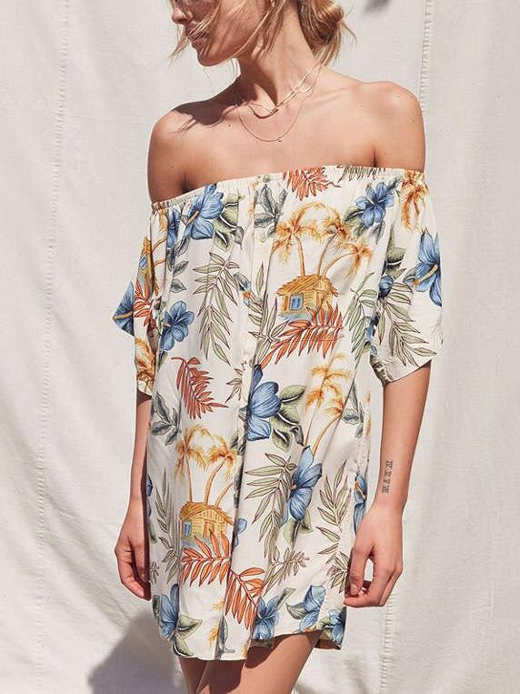 Floral Printed Off-the-shoulder Bohemia Mini Dress
