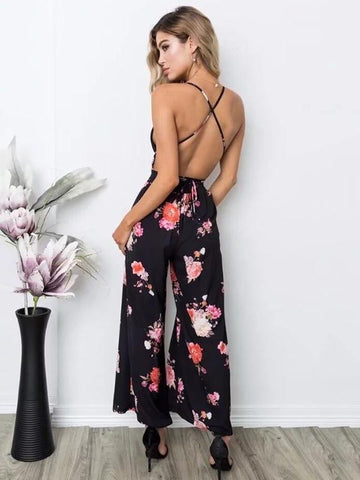 Printed Belted Backless Bohemia Jumpsuits