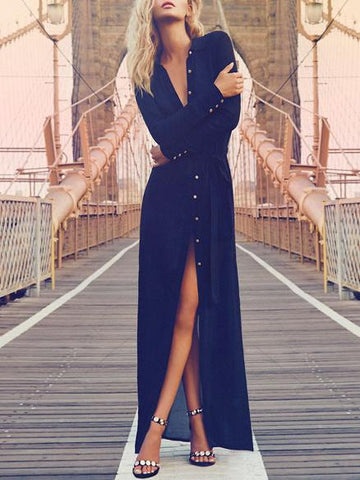 Pretty Chiffon Front Split with Button Long Sleeve Maxi Dress