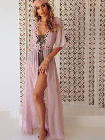 Lace Split-joint Bikini Swimwear Cover-up