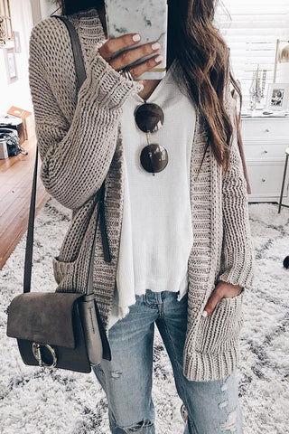 Grey Plain Pockets Long Sleeve Going out Casual Cardigan Sweater