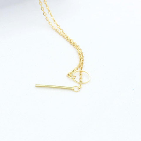 Long Bar Necklace Gold Plated Chains Choker Necklace