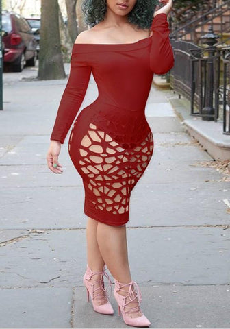 Date Red Cut Out Off Shoulder Backless Long Sleeve Clubwear Party Midi Dress