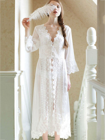 White Flared Sleeves Midi Cover-Ups