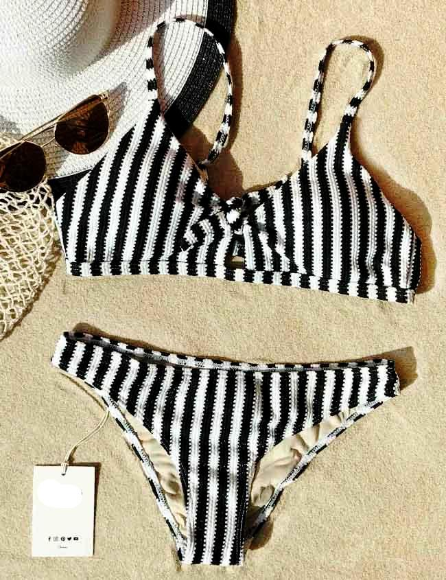Straight To Me Tie Zebra Bikini Set