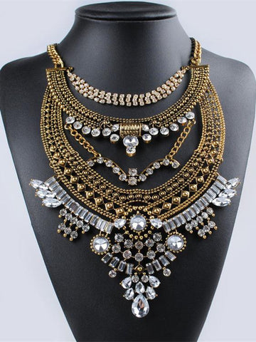 Bohemia Vintage Exaggeration Crystal Necklaces Accessories