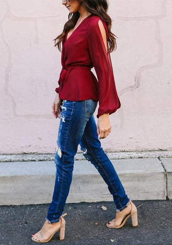 Burgundy Sashes Cut Out Lantern Sleeve Deep V-neck Chiffon Elegant Blouse