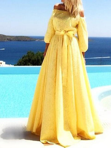 Off-the-shoulder Puff Sleeves Evening Dress