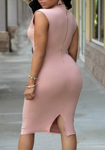 Pink Zipper Slit U-neck Bodycon Banquet Party Midi Dress
