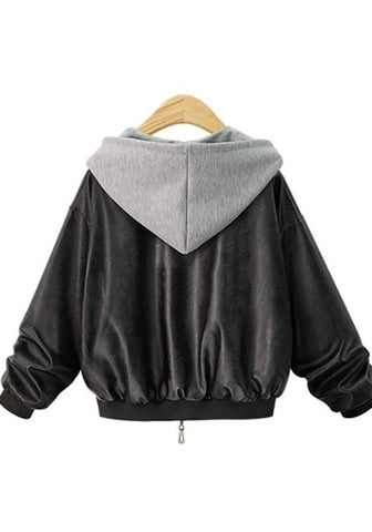 Black Patchwork Pockets Zipper Hooded Long Sleeve Leather Jacket