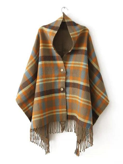 Fashion Tassels Checks Cape Tops