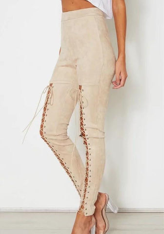 Beige Drawstring Zipper High Waisted Fashion Suede Long Pants