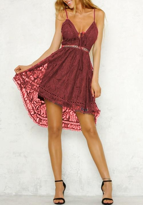 Red Lace Pleated Spaghetti Strap High-Low Lace-up Homecoming Party Cute Midi Dress
