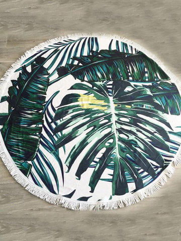 Coconut Tree Pattern Tassels Round Beach Mat Yoga Mat