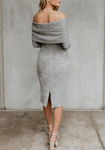 Grey Ruffle Slit Bodycon Off Shoulder Evening Party Knit Elegant Midi Dress