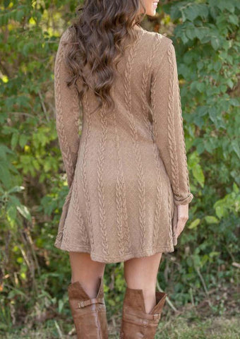Women Sweet Casual O-Neck Long Sleeve Knitting Dress Solid Mini Dress