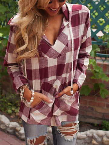 Classical Plaid Long Sleeve V-Neck Hooded Blouse Tops