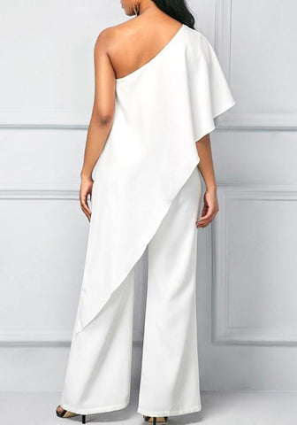 White Plain Irregular Asymmetric Shoulder Fashion Long Jumpsuit