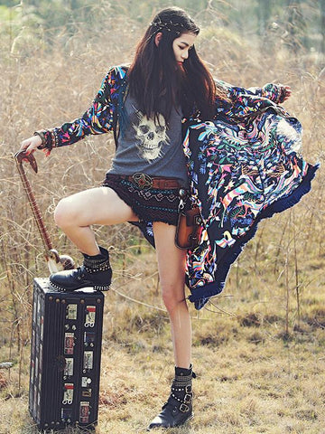 Popular Floral Print  Bohemia Long Sleeve Long Cover-Up Tops