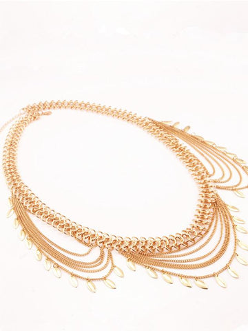 Punk Multi-Layer Leaf Tassel Waist Chain Accessories