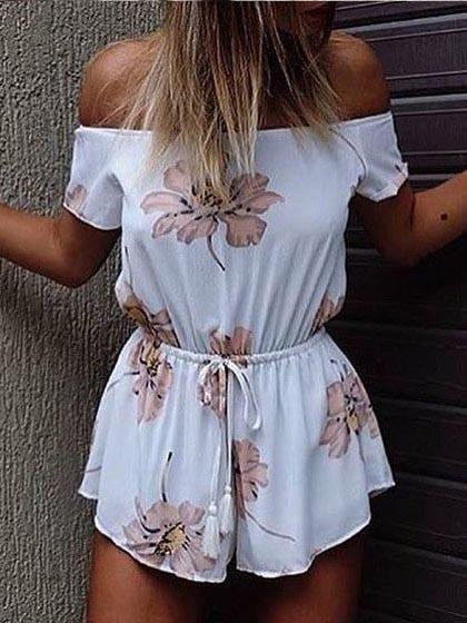 Street Fashion Bateau Off Shoulder Floral Print Romper