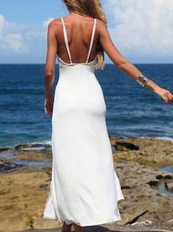Pretty Split-front Spaghetti-neck Backless Maxi Dress