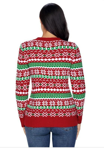 Red Monogram Geometric Print Long Sleeve Round Neck Christmas Pullover Sweater