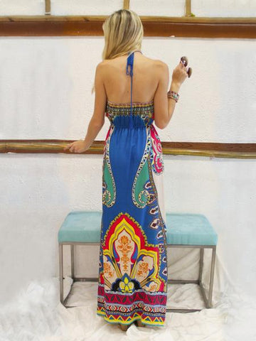 Printed Halterneck Backless Maxi Dress